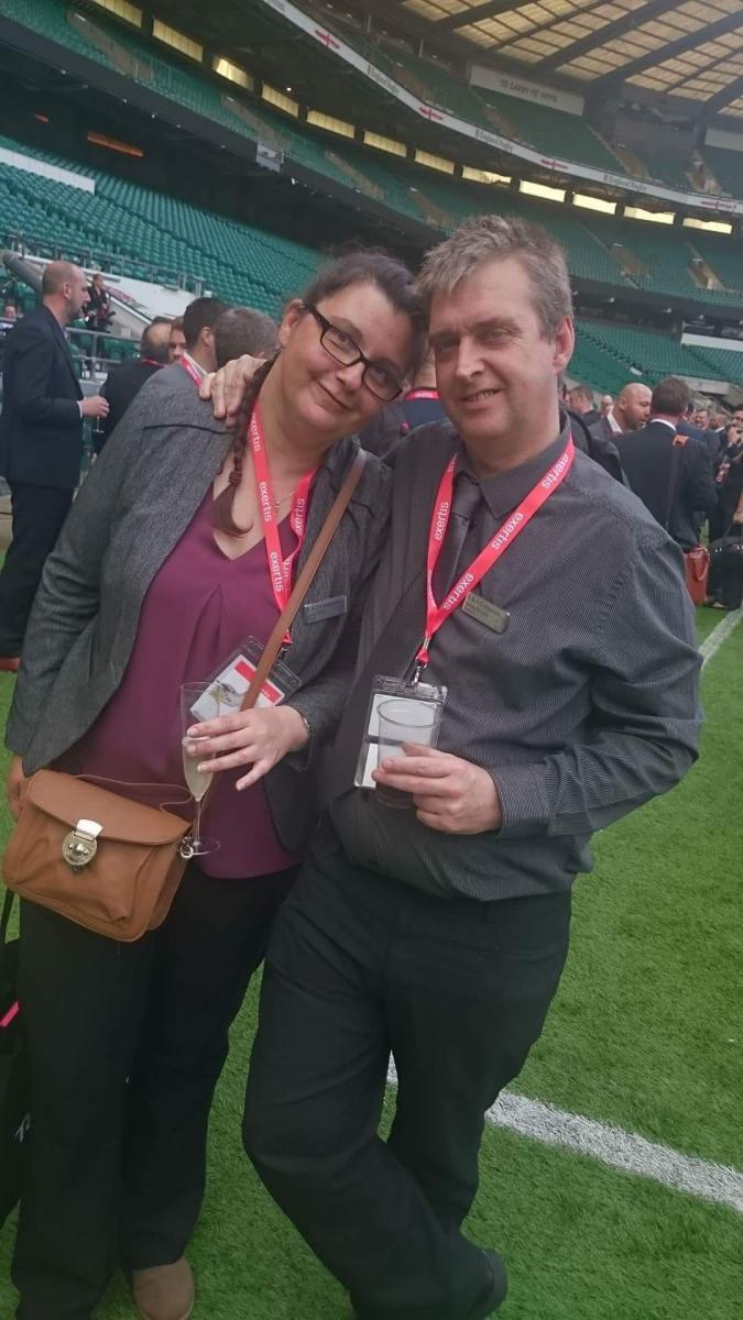 Jo & Eddie engaging in the IT expo at Twickenham.